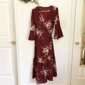 Dresses & Skirts - 🍓 RED FLORAL WRAP DRESS 🍓